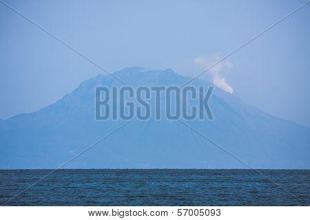 Smoking Sakurajima Volcano Near Kagoshima, Japan