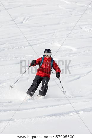 Male Skiing Back Country