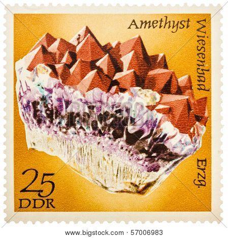 Stamp Printed In German Democratic Republic (east Germany) Shows Semiprecious Stone Amethyst