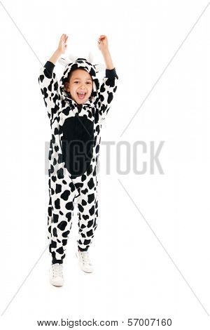 Little boy dressed as cow isolated over white background