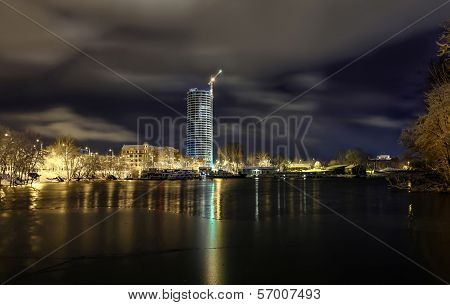 Night View At Riga, Latvia With Skyscrapers