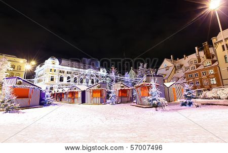 Night View At Riga, Latvia In Christmas Time