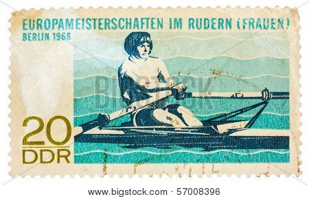 Postcard Printed In The Ddr Shows Championship European Rowing (women)