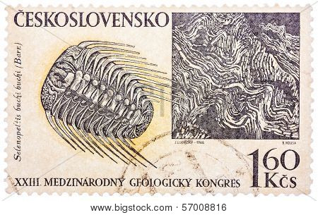 Stamp Printed In Czech (czechoslovakia) Shows Trilobite And Barrande Rock Formation, 23 Internationa