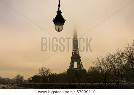 Eiffel tower view with hanging lamp