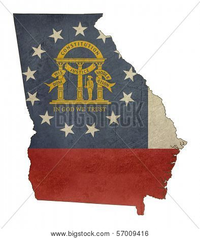 Grunge state of Georgia flag map isolated on a white background, U.S.A.