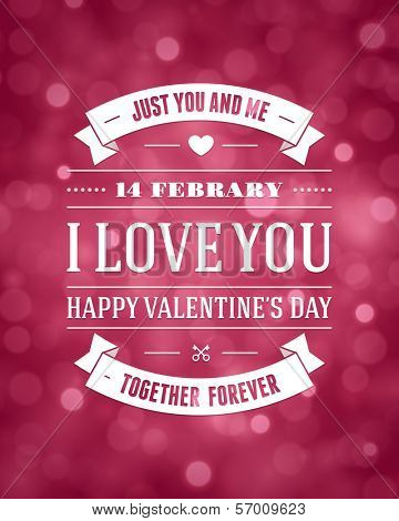 Happy Valentine's day message vintage retro vector background.