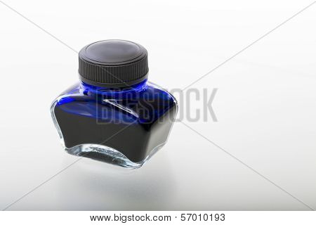 Single Blue Glass Ink Pot, Isolated On White