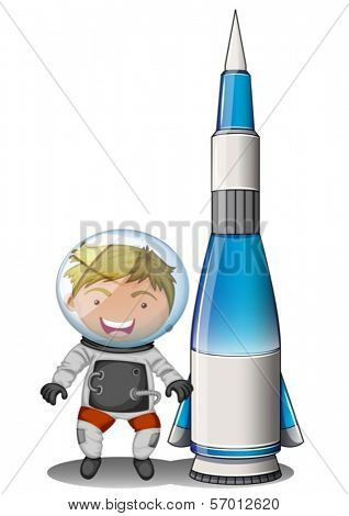 Illustration of a smiling astronaut beside an airship on a white background