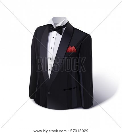 Tuxedo and bow. Stylish suit. Eps10 vector illustration. Isolated on white background