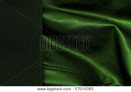 Greenleather Background With Margin