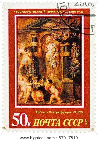 Stamp Printed In Ussr, Shows Painting Artist Peter Paul Rubens