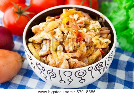 Vegetable ragout with chicken brests