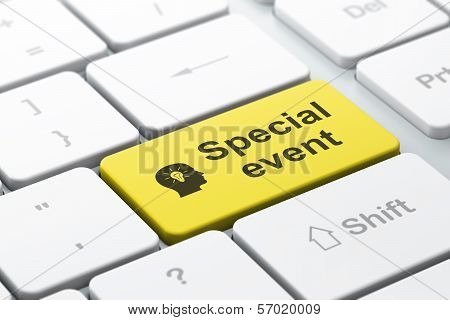 Finance concept: Head With Light Bulb and Special Event on computer keyboard background