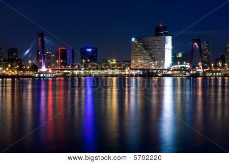 Willems Bridge Of Rotterdam. Night View