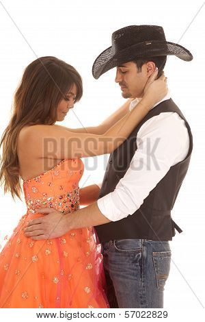 Cowboy Woman Orange Dress Arms Neck And Waist