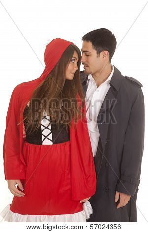 Man And Red Riding Hood Gazing
