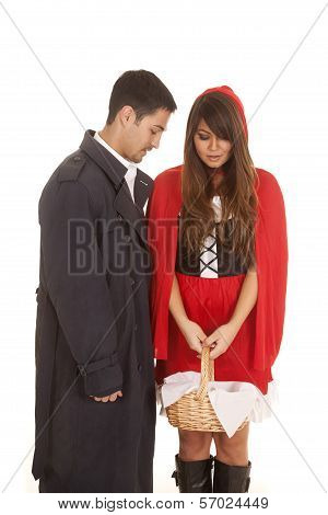 Man And Red Riding Hood Looking In Basket