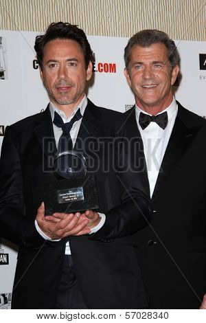 Robert Downey Jr., Mel Gibson at the American Cinematheque Honors Robert Downey Jr., Beverly Hilton, Beverly Hills, CA 10-14-11