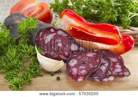 Summer Sausage And Vegetables.