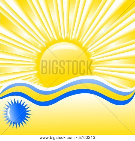 vector. summer background with waves, sun and place for text