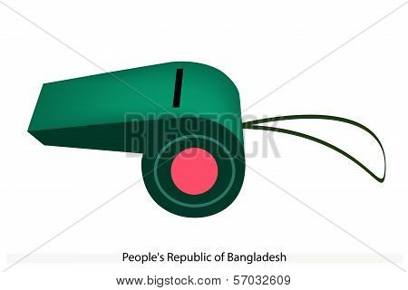 Red Disc On Green Color Of Afghanistan Whistle