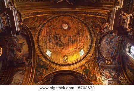 Goldon Baroque Dome And Paintings Gesu Jesuit Church Rome Italy