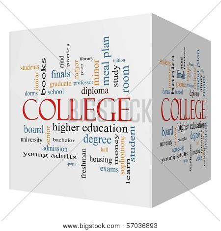 College 3D Cube Word Cloud Concept
