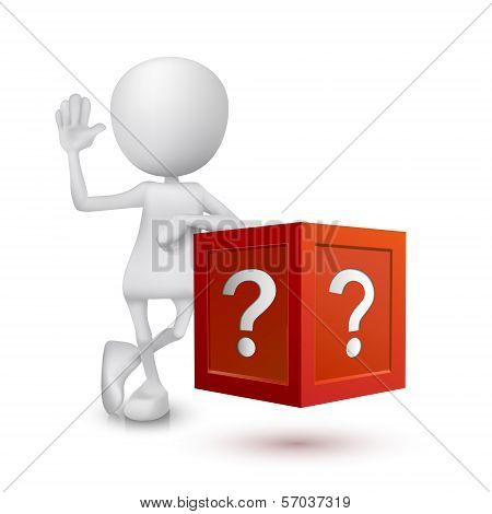 3D Person With The Question Box