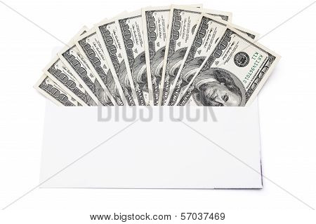 Us Currency In Envelope With Clipping Path