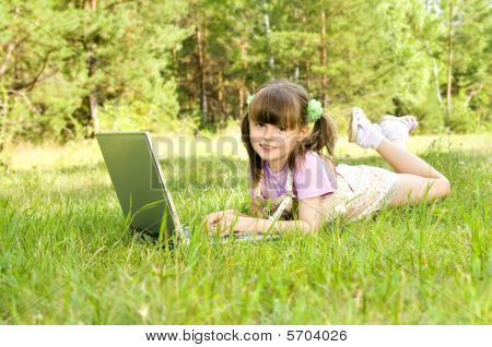 Little Girl With Computer