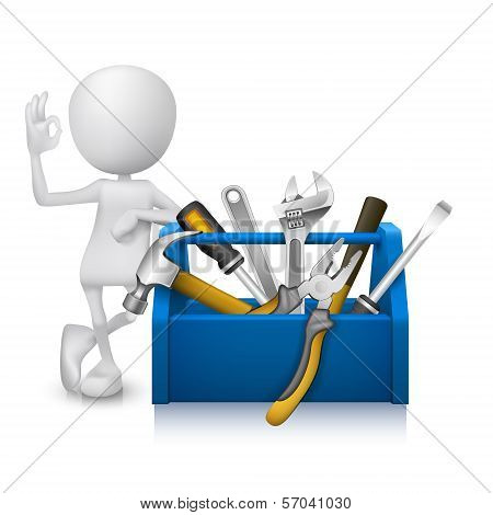 3D Man Showing Okay Hand Sign With A Toolbox With Tools