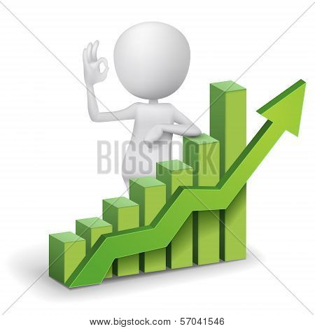 3D Man Showing Okay Hand Sign With A Bar Chart Graph