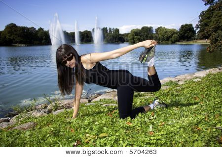 Fitness Woman Doing A Stretch