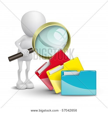 3D Person With Folders And A Magnifying Glass