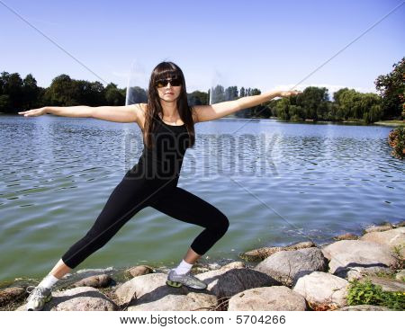 Woman Doing A Full Stretch