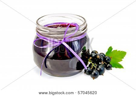 Jam Of Blackcurrant In A Glass Jar