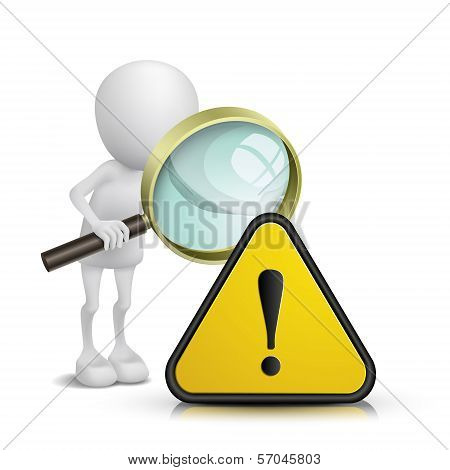 3D Person Watching A Warning Sign With A Magnifying Glass
