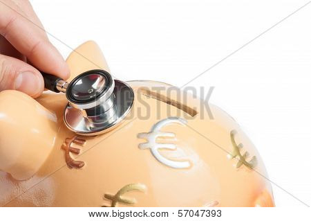 Stethoscope On Piggy Bank A Piggy Bank, Concept For Save Money