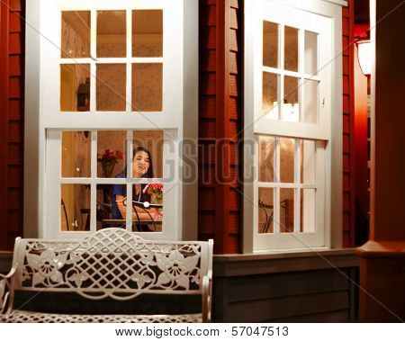 Teen Girl Seen Through Window From Outside Home