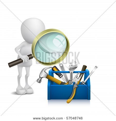 3D Man Watching The Tools In The Toolbox With A Magnifying Glass