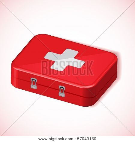 Medical box red health kit vector icon