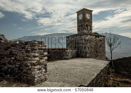 Clock Tower In  Old City Of Gjirokastra, Albania