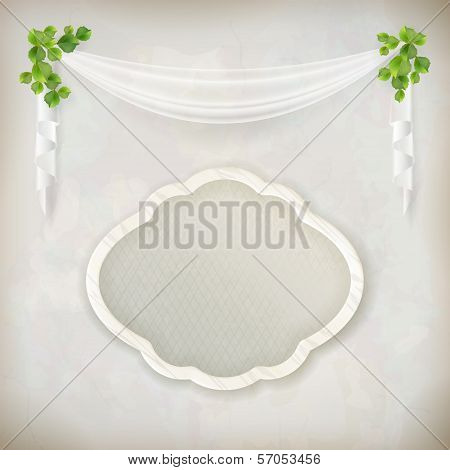 Blank signboard on marble wall background vector