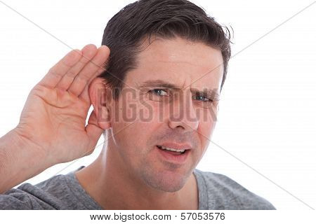 Man With Impaired Hearing Struggling To Hear