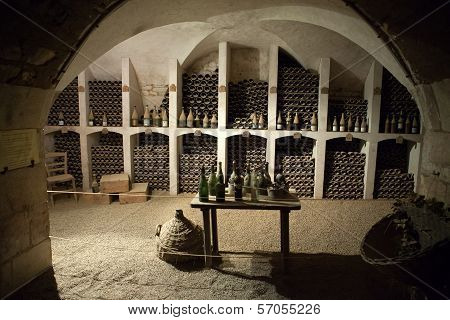The cellar to the storage of wine in the castle Valencay. Loire Valley. France