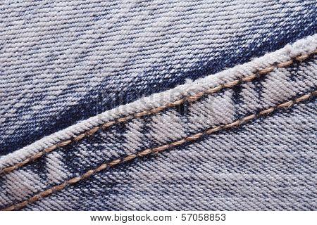 Texture Jeans Seam Close Up. Hem.