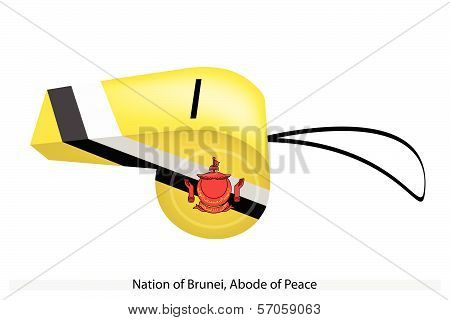 Yellow, Black And White Colors Of Brunei Whistle