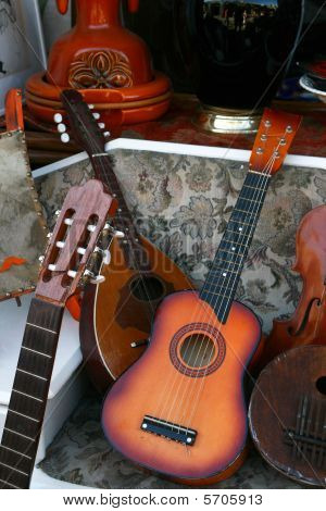 Vintage Musical Instruments In A Fleamarket