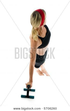 Illustration Lateral Core Strenght Pose Middle Age Woman Push Up Bars And Fitness Core Ball